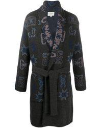 Двубортное Трикотажное Пальто Etro для него, цвет: Gray