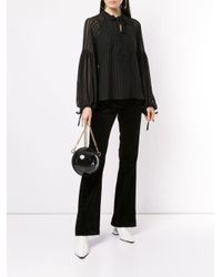 Munthe Black RUFFLE LS HIGH NECK BLOUSE