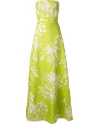 Bambah Green Bustier Top Floral Print Gown