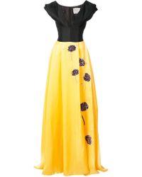 Carolina Herrera Yellow Embroidered Ball Gown