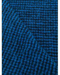 Faliero Sarti フリンジ ニットスカーフ Blue