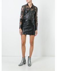 Saint Laurent Black Lace Glitter Detail Top