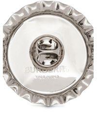 メンズ Burberry ボトルキャップ ブローチ Metallic