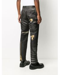 Pantaloni Macro Biker con stampa di Moschino in Black da Uomo