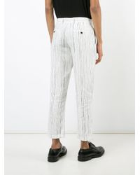Ann Demeulemeester Grise White Woven Linen Trousers for men