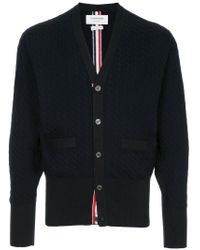Thom Browne Blue Cable Knit Cardigan for men
