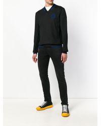 Versace Jeans Black V-neck Classic Jumper for men