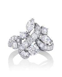De Beers Metallic 18kt White Gold Adonis Rose Cluster Diamond Ring