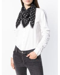 Saint Laurent - Black Knitted Logo Scarf - Lyst