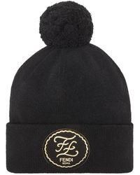 Logo patch cashmere hat Fendi pour homme en coloris Black