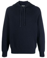 Tom Ford Blue Knitted Cashmere Hoodiee for men