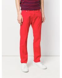 PS by Paul Smith Red Straight Leg Trousers for men