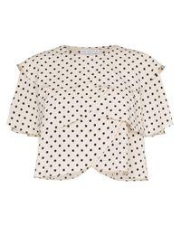 Blusa festoneada con motivo de lunares Rejina Pyo de color Black