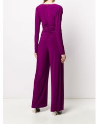 Norma Kamali Purple Jumpsuit mit geraffter Taille