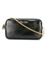 a71ebbe46801 Miu Miu. Black -  little  Bag With Chain - Women - Patent Leather - One Size