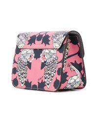 Furla Pink Metropolis Peacock Print Bag