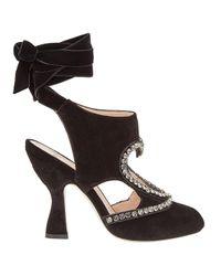 Fendi Black Wrapped Ankle Sandals