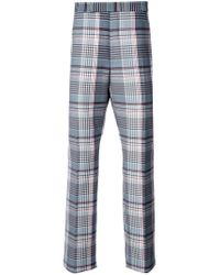 Thom Browne Blue Plaid Tailored Trousers for men