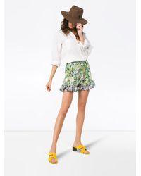 All Things Mochi Green Baila Tropical Print Ruffle Shorts