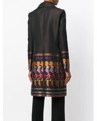 Etro - Black Coat With Repeat Pattern Hem - Lyst