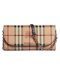 Burberry - Multicolor Haymarket Check Chain Wallet - Lyst