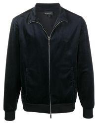 メンズ Emporio Armani ベロア ボンバージャケット Blue