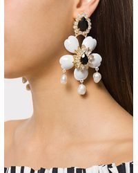Shourouk - White Floral Pendant Earrings - Lyst