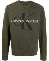 メンズ Calvin Klein ロゴ スウェットシャツ Green