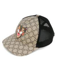 304e8ed27bd Gucci Cat Print Gg Supreme Baseball Hat in Black for Men - Lyst