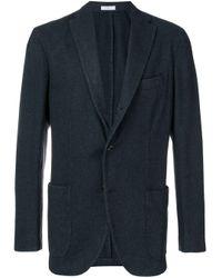 メンズ Boglioli ウール シングルジャケット Blue