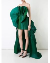 Isabel Sanchis Green Pleated Structured High-low Hem Dress