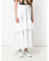 P.A.R.O.S.H. White Frill Hem Skirt