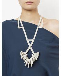 Papieta - White Intertwined Geometric Necklace - Lyst