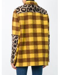 N°21 Yellow Panelled Checked Coat