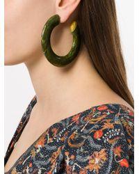 Cult Gaia - Green Mira Small Flat Hoop Earrings - Lyst