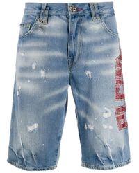 メンズ Philipp Plein スタッズロゴ ショートパンツ Blue