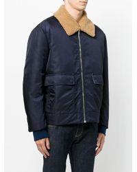 MSGM Blue Flap Pockets Zipped Jacket for men