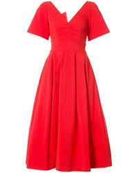 Oscar de la Renta Red Back Bow Balloon Dress
