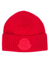 Moncler Gerippte Mütze mit Logo in Red für Herren
