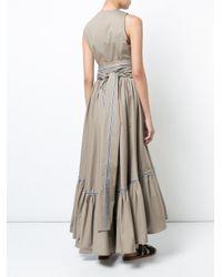 Silvia Tcherassi Natural Tie Waist Tiered Dress