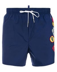 DSquared² - Blue Embellished Patch Swim Shorts for Men - Lyst