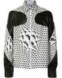 メンズ MARINE SERRE ホワイト ジップアップ Decoupes シャツ White