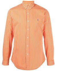Camisa a rayas con botones Polo Ralph Lauren de hombre de color Orange