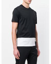 Les Hommes Black Contrast Cut T-shirt With Suspender for men