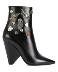 Saint Laurent Black Embellished Niki 85 Asymmetric Boots