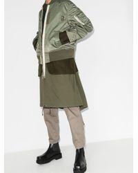 メンズ Sacai ロングライン ボンバージャケット Green