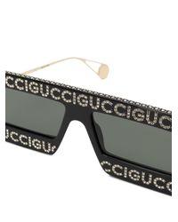 Gafas de sol con montura estilo máscara Gucci de color Black