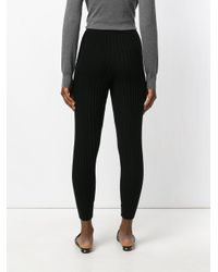 IRO Black Ribbed Fitted Track Pants