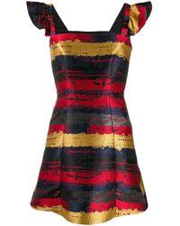Three Floor Red Bardot Jacquard Mini Dress