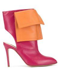 Natasha Zinko Orange Two Tone Cut-out Ankle Boots